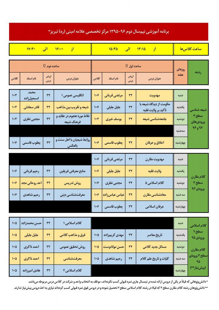 برنامه آموزشی نیمسال دوم ۹۶-۹۵